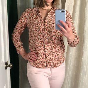 Topshop Floral Button Down Blouse